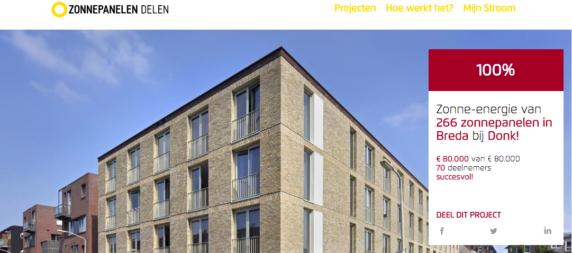 crowdfunding voor 266 zonnepanelen bij Donk Breda