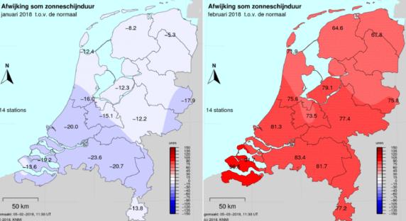 KNMI zon uren in Nederland