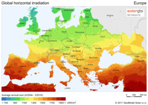 instraling zonne-energie europa